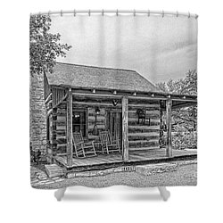 Town Creek Log Cabin Shower Curtain