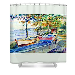 Town Fishery Shower Curtain by Estela Robles