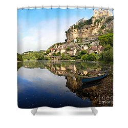 Town Of Beynac-et-cazenac Alongside Dordogne River Shower Curtain by IPics Photography