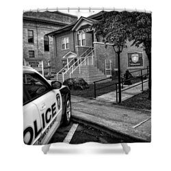 Town Of Murphy Police In Black And White Shower Curtain