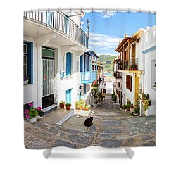 Town Of Skopelos Shower Curtain by Evgeni Dinev