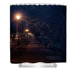 Town Street A Night Shower Curtain