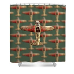 Toy Airplane Scrapper Pattern Shower Curtain by YoPedro