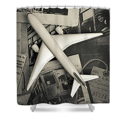 Toy Airplane Vintage Travel Shower Curtain by Edward Fielding