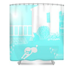 Toy Poodle Louie And Black Cat Jessica In The Yard Shower Curtain