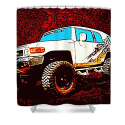 Toyota Fj Cruiser 4x4 Cartoon Panel From Vivachas Shower Curtain