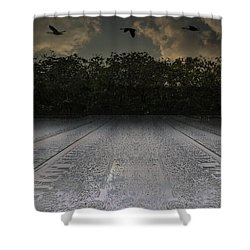 Tracks In The Sky Shower Curtain
