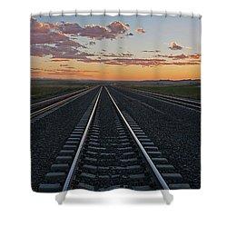 Tracks Into Sunset Shower Curtain