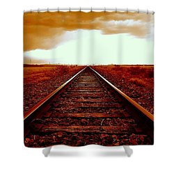Marfa Texas America Southwest Tracks To California Shower Curtain