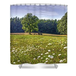 Tractor In Field With Flowers Shower Curtain