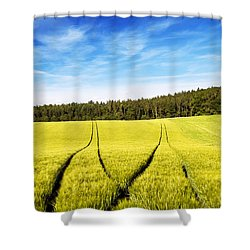 Tractor Tracks In Wheat Field Shower Curtain by Carsten Reisinger