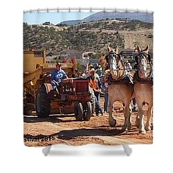 Tractors And Draft Horses Pulling Shower Curtain