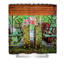 Shower Curtain featuring the photograph Tractors Side By Side by Debra and Dave Vanderlaan