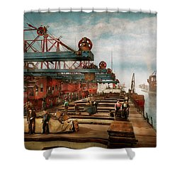 Shower Curtain featuring the photograph Trade - It's Iron Ore It's Nothing - 1900 by Mike Savad