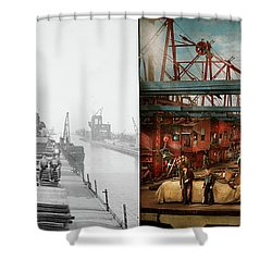 Shower Curtain featuring the photograph Trade - It's Iron Ore It's Nothing 1900 - Side By Side by Mike Savad