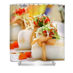 Traditional Chinese Hakka Rice Noodle Roll Shower Curtain by Yali Shi