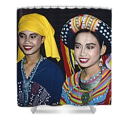 Shower Curtain featuring the photograph Traditional Dressed Thai Ladies by Heiko Koehrer-Wagner