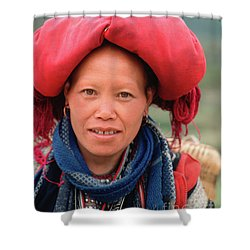 Traditional Fashion Of A Red Dzao Woman Shower Curtain
