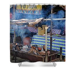 Traditional Market In Taiwan Native Village Shower Curtain by Yali Shi