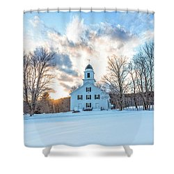 Shower Curtain featuring the photograph Traditional New England White Church Etna New Hampshire by Edward Fielding