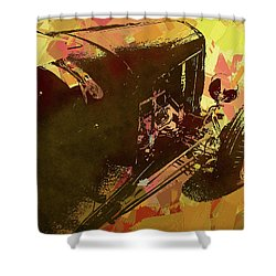 Traditional Roadster Pop Yellow Shower Curtain