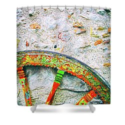 Shower Curtain featuring the photograph Traditional Sicilian Cart Wheel Detail by Silvia Ganora