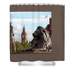 Trafalgar Square Lion With Big Ben Shower Curtain by Gill Billington