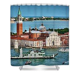 Traffic Around The Venetian Church Shower Curtain