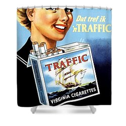 Shower Curtain featuring the digital art Traffic Cigarette by Reinvintaged