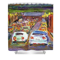 Traffic Jam Shower Curtain by Janet Garcia