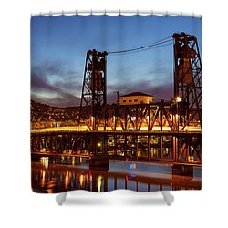 Traffic Light Trails On Steel Bridge Shower Curtain by David Gn