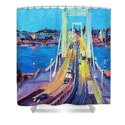 Traffic On Elisabeth Bridge At Dusk Shower Curtain