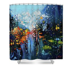 Shower Curtain featuring the painting Traffic Seen Through A Rainy Windshield by Dan Haraga