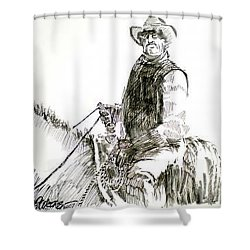 Shower Curtain featuring the drawing Trail Boss by Seth Weaver