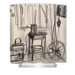 Shower Curtain featuring the drawing Trailer by Erika Chamberlin