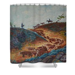 Trailin' Em Down Shower Curtain by Willoughby Senior and Dawn Senior-Trask