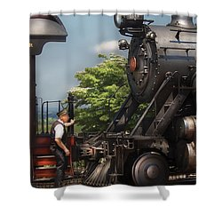 Train - Engine - Alllll Aboard Shower Curtain by Mike Savad