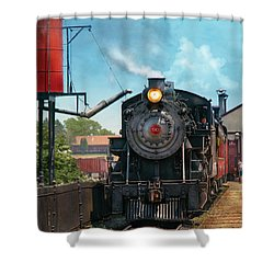 Train - Engine - Strasburg Number 9 Shower Curtain by Mike Savad