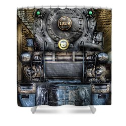 Train - Engine -1218 - Norfolk Western Class A - 1218 - Front View Shower Curtain by Mike Savad