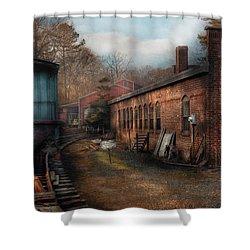 Train - Yard - The Train Yard Shower Curtain by Mike Savad