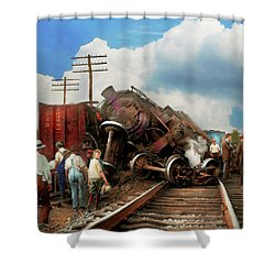 Shower Curtain featuring the photograph Train - Accident - Butting Heads 1922 by Mike Savad