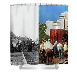 Shower Curtain featuring the photograph Train - Accident - Butting Heads 1922 - Side By Side by Mike Savad