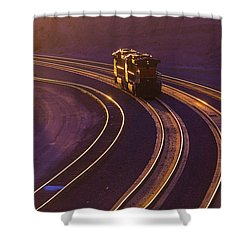 Train At Sunset Shower Curtain