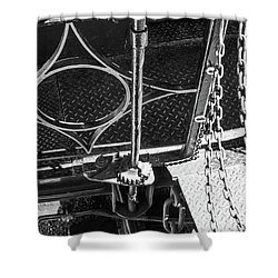 Shower Curtain featuring the photograph Train Car Connections by Colleen Coccia