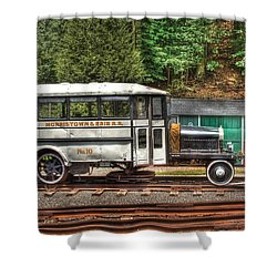 Train - Car - The Rail Bus Shower Curtain by Mike Savad