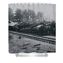 Train Derailment Shower Curtain