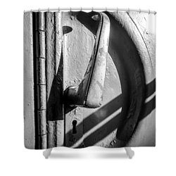 Shower Curtain featuring the photograph Train Door Handle by John Williams