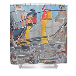 Train Engine Shower Curtain by Rodger Ellingson