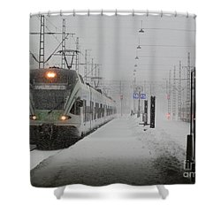 Train In Helsinki Shower Curtain
