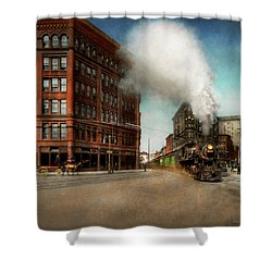 Shower Curtain featuring the photograph Train - Respect The Train 1905 by Mike Savad